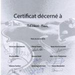 Concours international de lutherie 2016 : Certificat pour Yann Besson