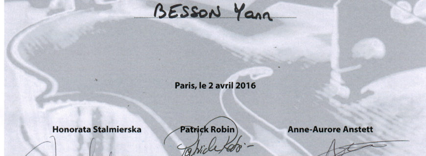 International Viola 2016 competition : Certificat for Yann Besson