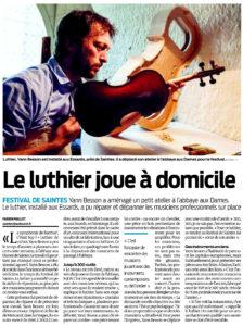 Le luthier joue à domicile (Sud-Ouest - 16 juillet 2016)